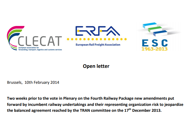 Open letter from ESC, CLECAT, ERFA addressed to ALL MEPs warning on a risk to jeopardize the results of the TRAN Committee of last 17th December … and the answer letter (05/03/2014) of VP Kallas Cabinet.
