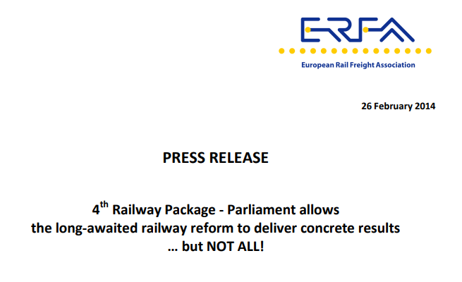 ERFA reacts on the EP vote in plenary session (1st reading) on the 4th Railway Package