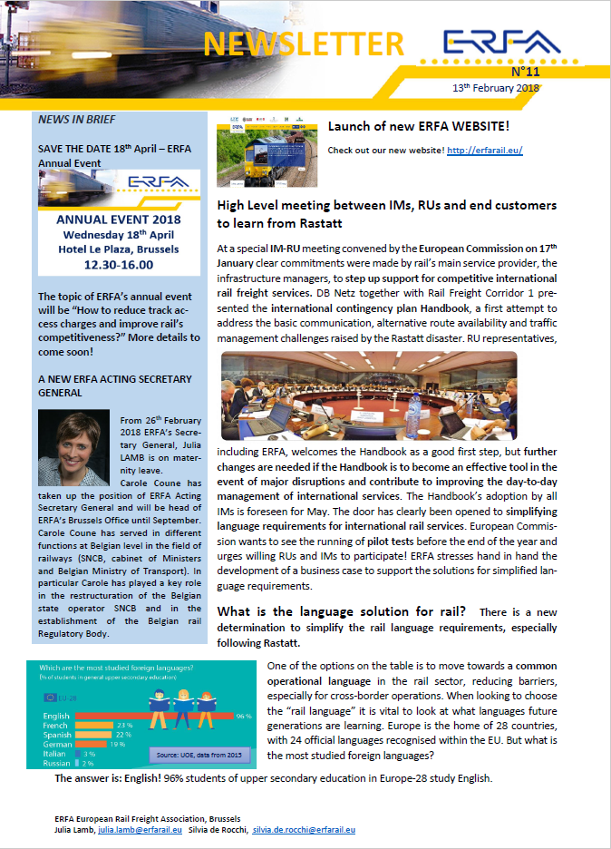 newsletters erfa european rail freight association